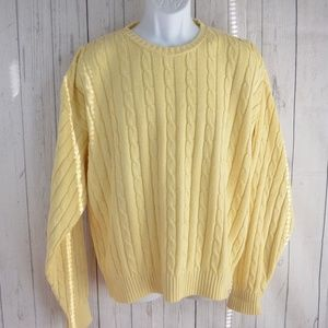 Brooks Brothers Cable Knit Yellow Striped Crewneck